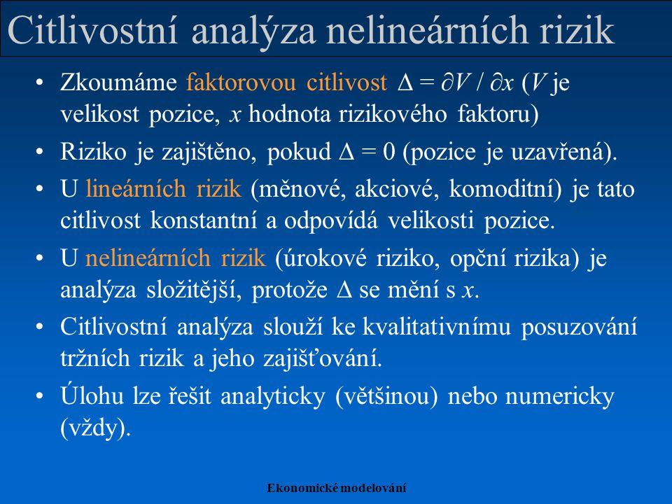 Ekonomické modelování Citlivostní analýza nelineárních rizik Zkoumáme faktorovou citlivost  =  V /  x (V je velikost pozice, x hodnota rizikového faktoru) Riziko je zajištěno, pokud  = 0 (pozice je uzavřená).