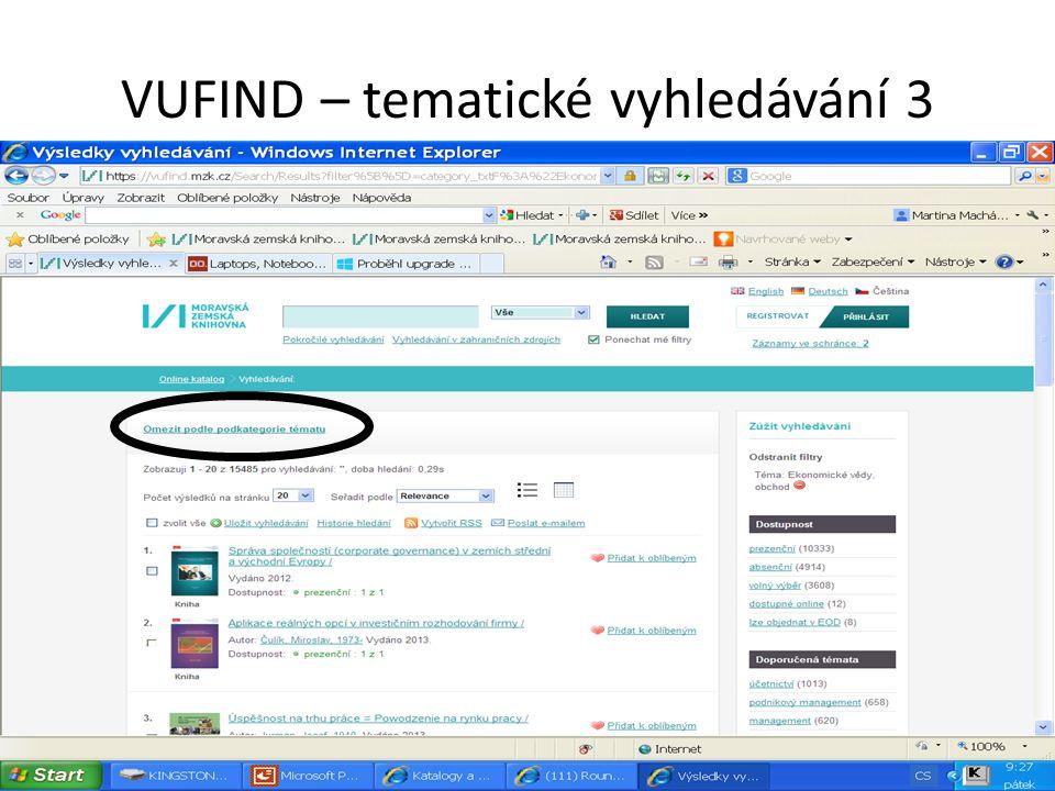VUFIND – tematické vyhledávání 3