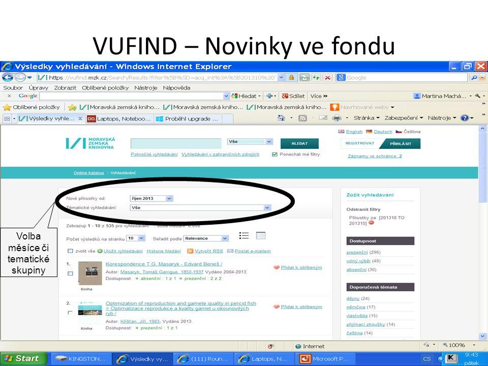 VUFIND – Novinky ve fondu Volba měsíce či tematické skupiny
