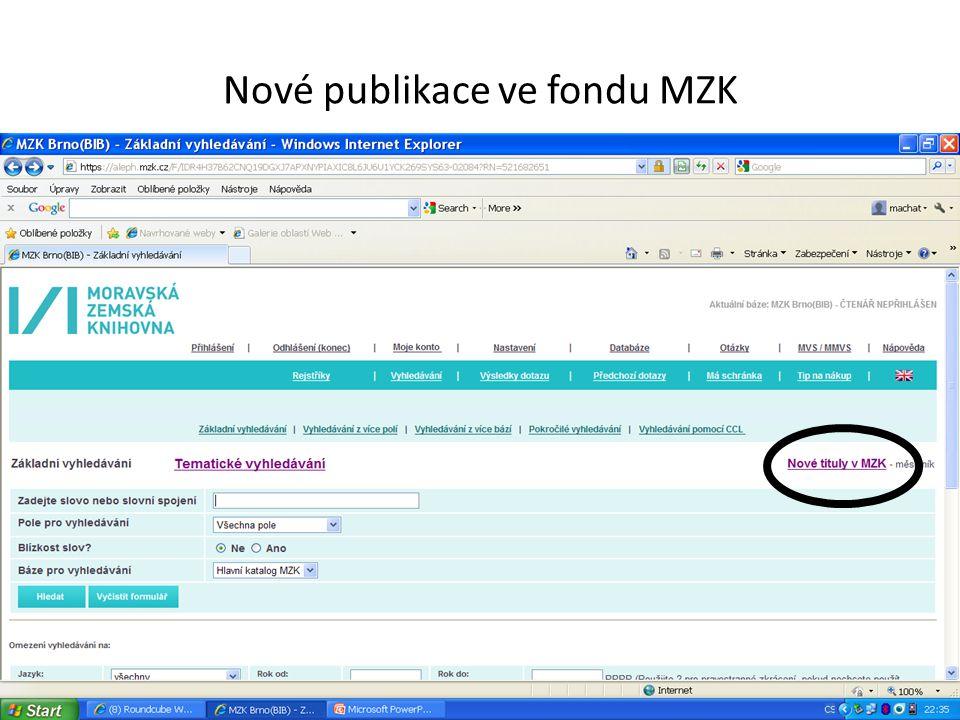 Nové publikace ve fondu MZK