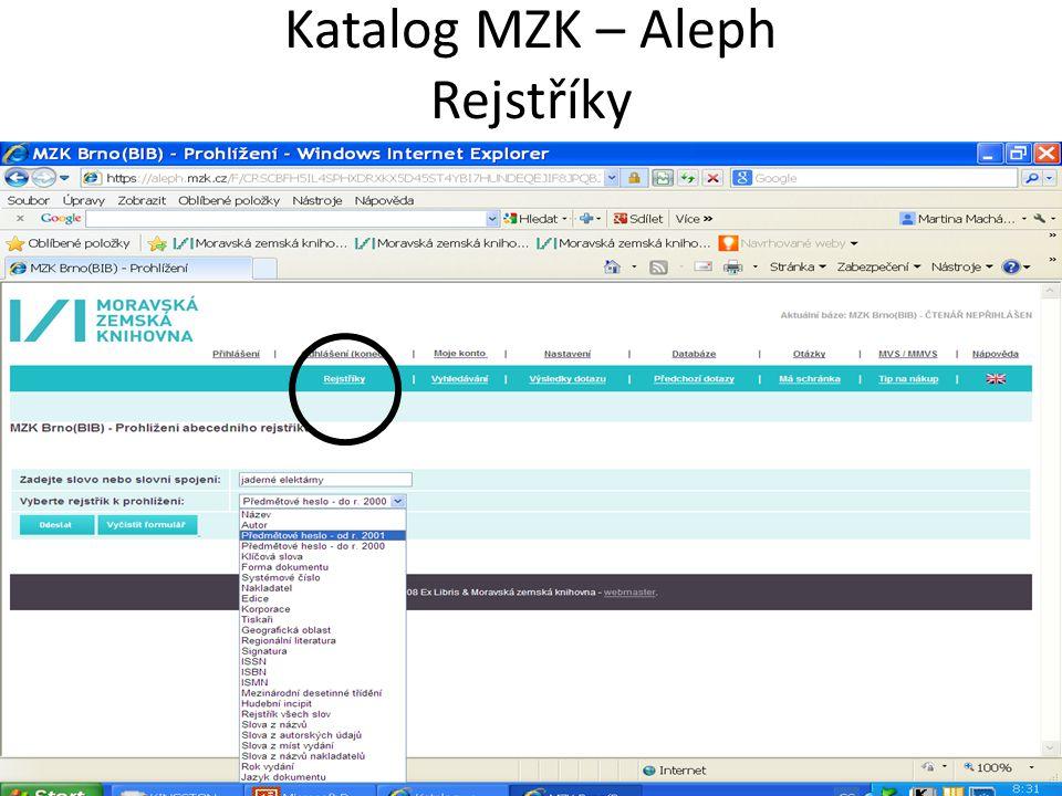 Katalog MZK – Aleph Rejstříky