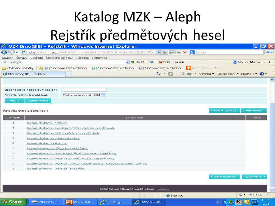 Katalog MZK – Aleph Rejstřík předmětových hesel