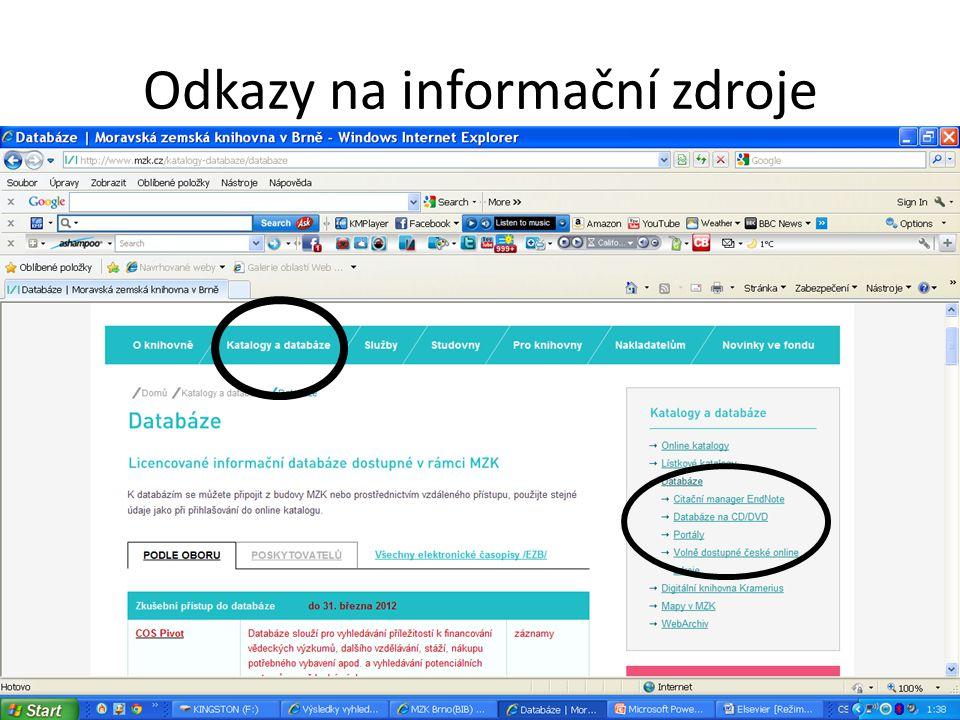 Odkazy na informační zdroje