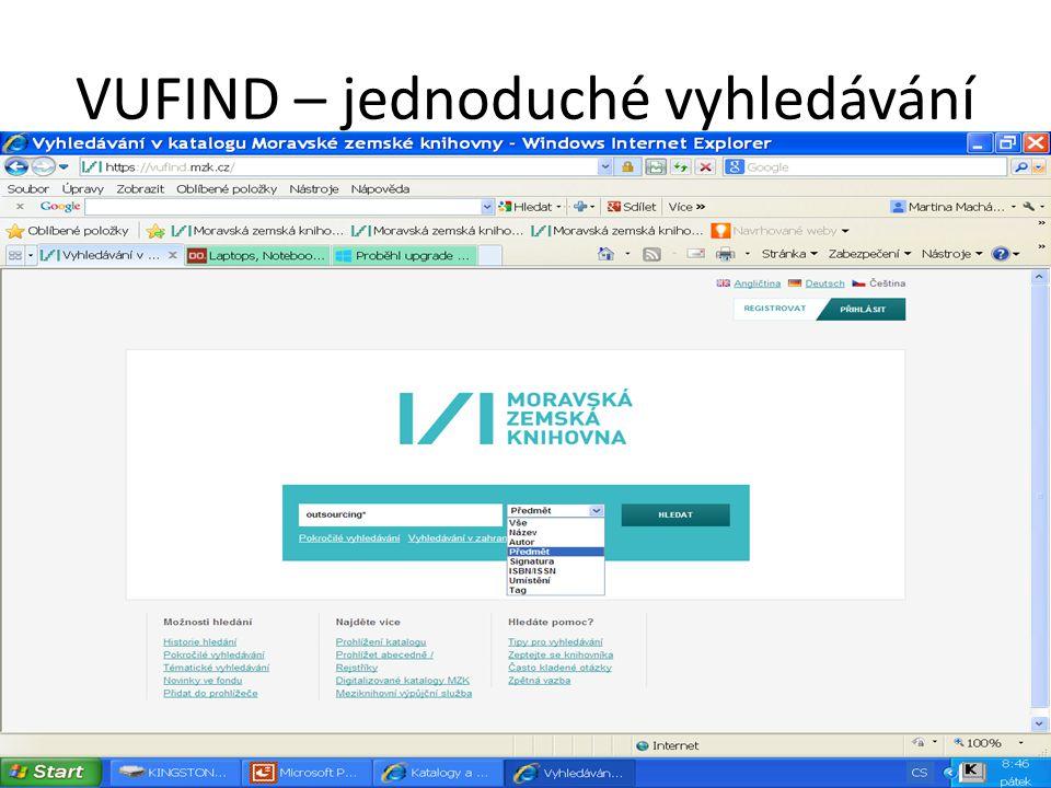 VUFIND - rejstříky