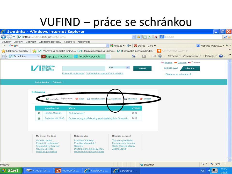 VUFIND – práce se schránkou
