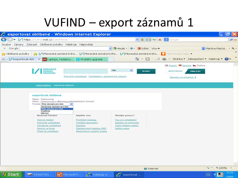 VUFIND – export záznamů 1