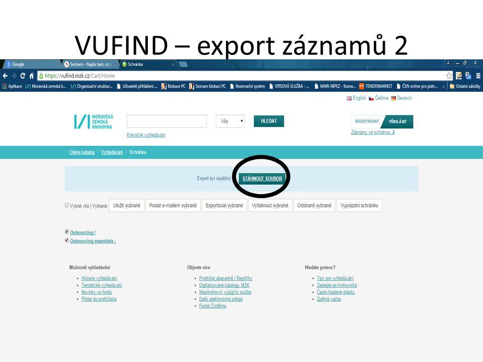 VUFIND – export záznamů 2