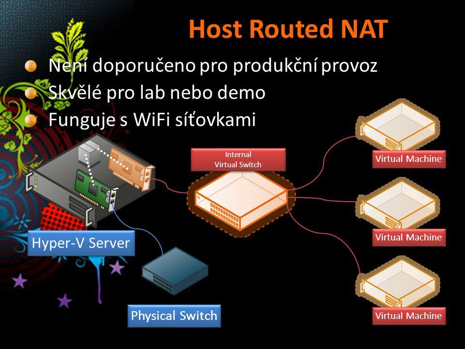 Host Routed NAT Internal Virtual Switch Physical Switch Hyper-V Server Virtual Machine Není doporučeno pro produkční provoz Skvělé pro lab nebo demo F