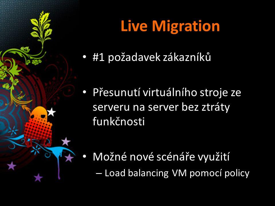 Live Migration #1 požadavek zákazníků Přesunutí virtuálního stroje ze serveru na server bez ztráty funkčnosti Možné nové scénáře využití – Load balanc