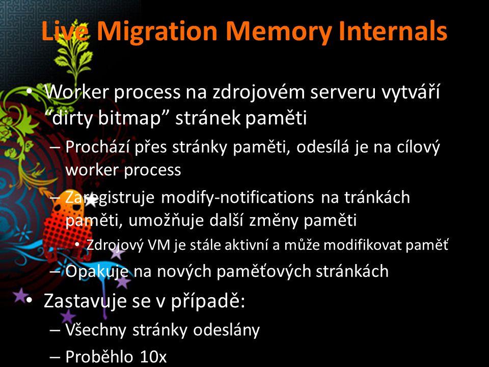 """Live Migration Memory Internals Worker process na zdrojovém serveru vytváří """"dirty bitmap"""" stránek paměti – Prochází přes stránky paměti, odesílá je n"""