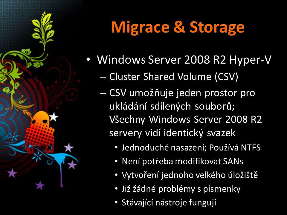 Migrace & Storage Windows Server 2008 R2 Hyper-V – Cluster Shared Volume (CSV) – CSV umožňuje jeden prostor pro ukládání sdílených souborů; Všechny Wi