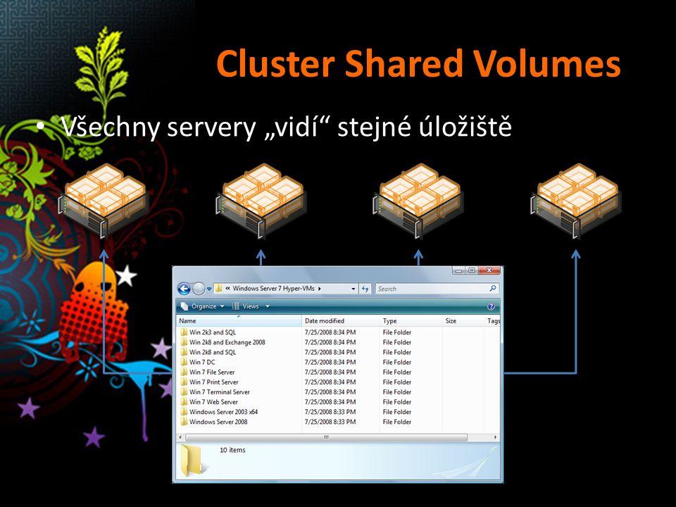"""Cluster Shared Volumes Všechny servery """"vidí"""" stejné úložiště"""