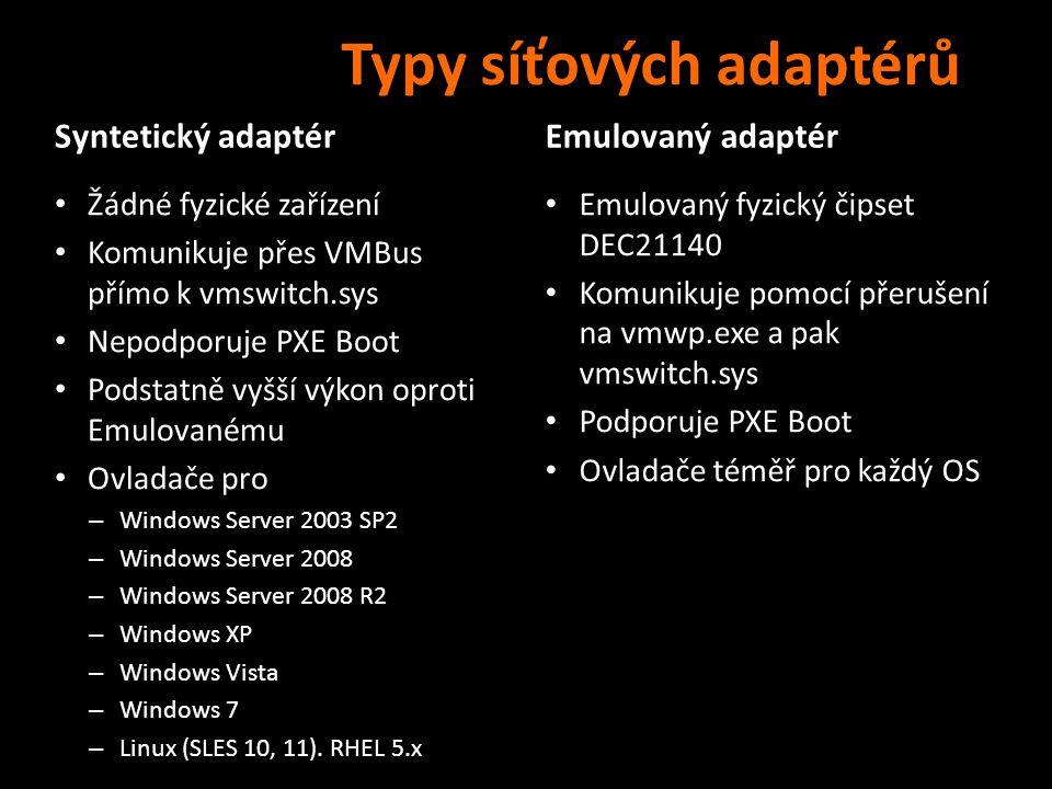Síťová architektura Network Physical NIC (Intel/Broadcom etc…) Physical NIC (Intel/Broadcom etc…) Layer 2 – Network Traffic… MAC xx:xx:xx:xx:xx:xx Virtual Switch (vmswitch.sys) Virtual Switch (vmswitch.sys) Kernel Level IOCTLS Tcpip.sys NIC Driver Synthetic Virtual NIC (netvscXXsys) Synthetic Virtual NIC (netvscXXsys) Kernel Level IOCTLS Tcpip.sys NIC Driver TCP/IP (tcpip.sys) TCP/IP (tcpip.sys) Application (Ports/Sockets etc…) Application (Ports/Sockets etc…) Emulated Virtual NIC (dc21x4vm.sys) Emulated Virtual NIC (dc21x4vm.sys) Kernel Level IOCTLS Tcpip.sys NIC Driver TCP/IP (tcpip.sys) TCP/IP (tcpip.sys) Application (Ports/Sockets etc…) Application (Ports/Sockets etc…) Host Virtual NIC (vmswitch.sys) Host Virtual NIC (vmswitch.sys) Kernel Level IOCTLS Vmswitch.sys NIC Driver TCP/IP (tcpip.sys) TCP/IP (tcpip.sys) Application (Ports/Sockets etc…) Application (Ports/Sockets etc…) Virtuální stroje
