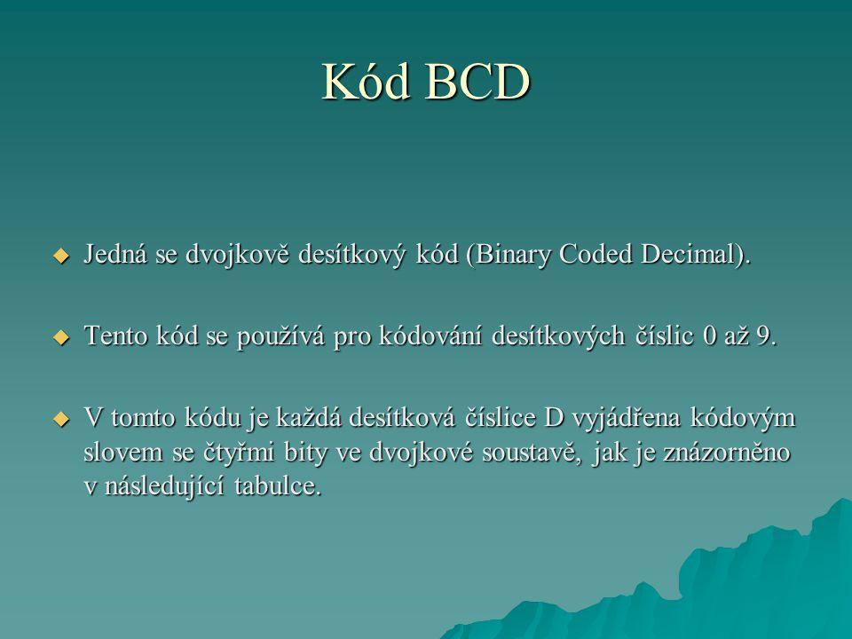 Kód BCD  Jedná se dvojkově desítkový kód (Binary Coded Decimal).