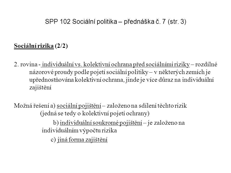 SPP 102 Sociální politika – přednáška č. 7 (str. 3) Sociální rizika (2/2) 2.
