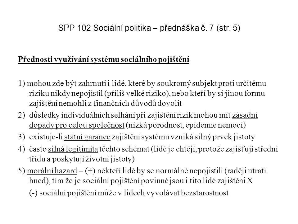 SPP 102 Sociální politika – přednáška č. 7 (str.