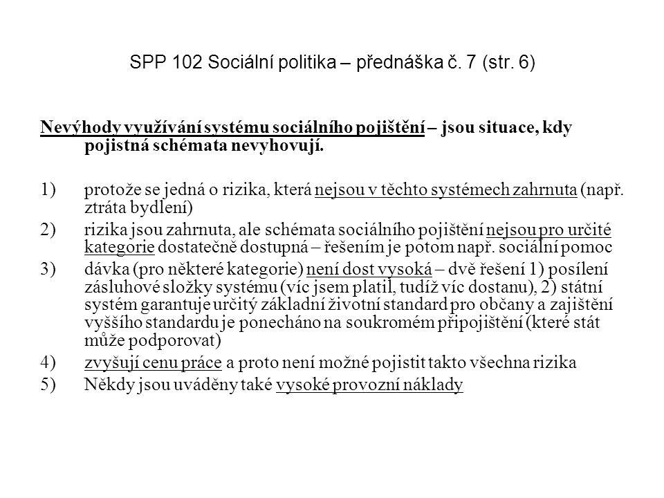 SPP 102 Sociální politika – přednáška č.7 (str.
