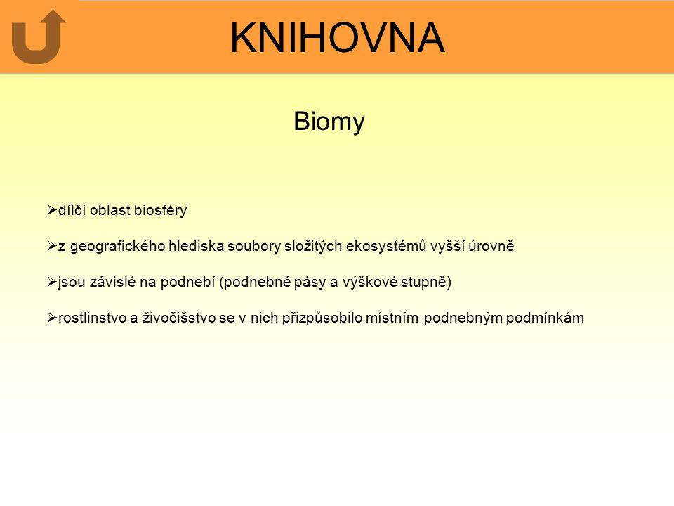 KNIHOVNA Biomy  dílčí oblast biosféry  z geografického hlediska soubory složitých ekosystémů vyšší úrovně  jsou závislé na podnebí (podnebné pásy a