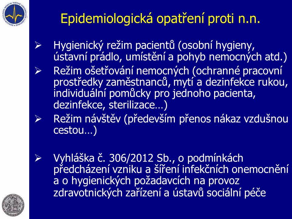 Epidemiologická opatření proti n.n.  Hygienický režim pacientů (osobní hygieny, ústavní prádlo, umístění a pohyb nemocných atd.)  Režim ošetřování n