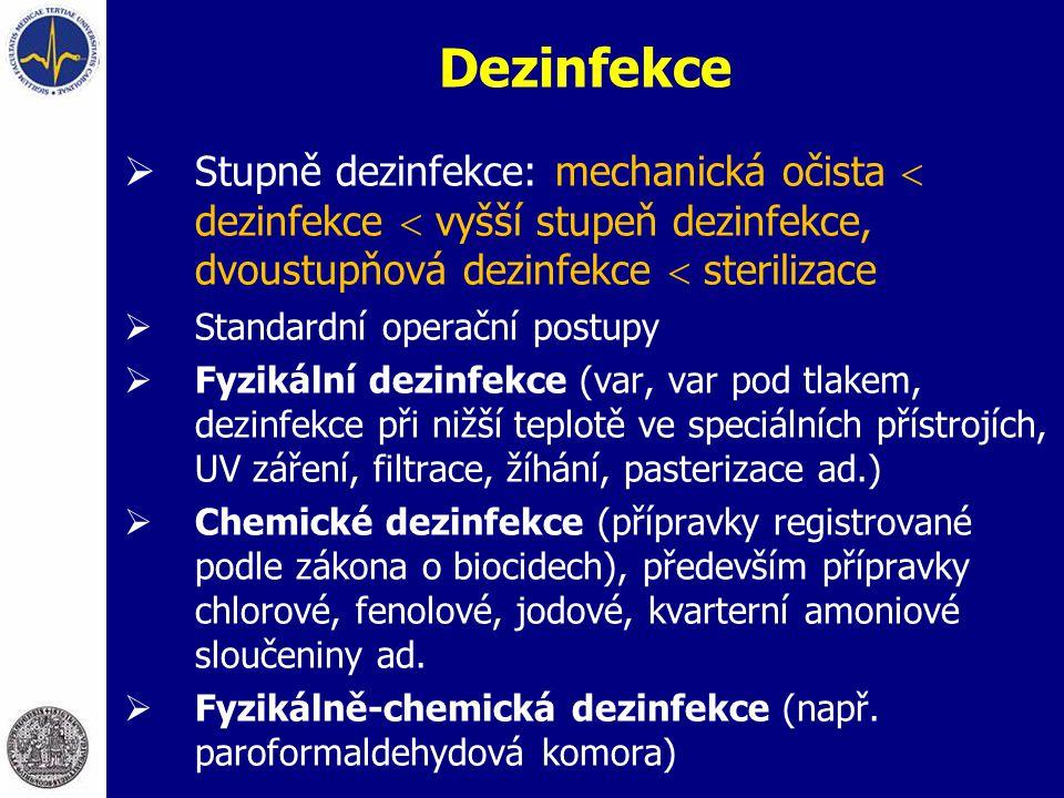 Dezinfekce  Stupně dezinfekce: mechanická očista  dezinfekce  vyšší stupeň dezinfekce, dvoustupňová dezinfekce  sterilizace  Standardní operační