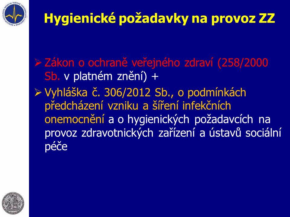  Zákon o ochraně veřejného zdraví (258/2000 Sb. v platném znění) +  Vyhláška č. 306/2012 Sb., o podmínkách předcházení vzniku a šíření infekčních on
