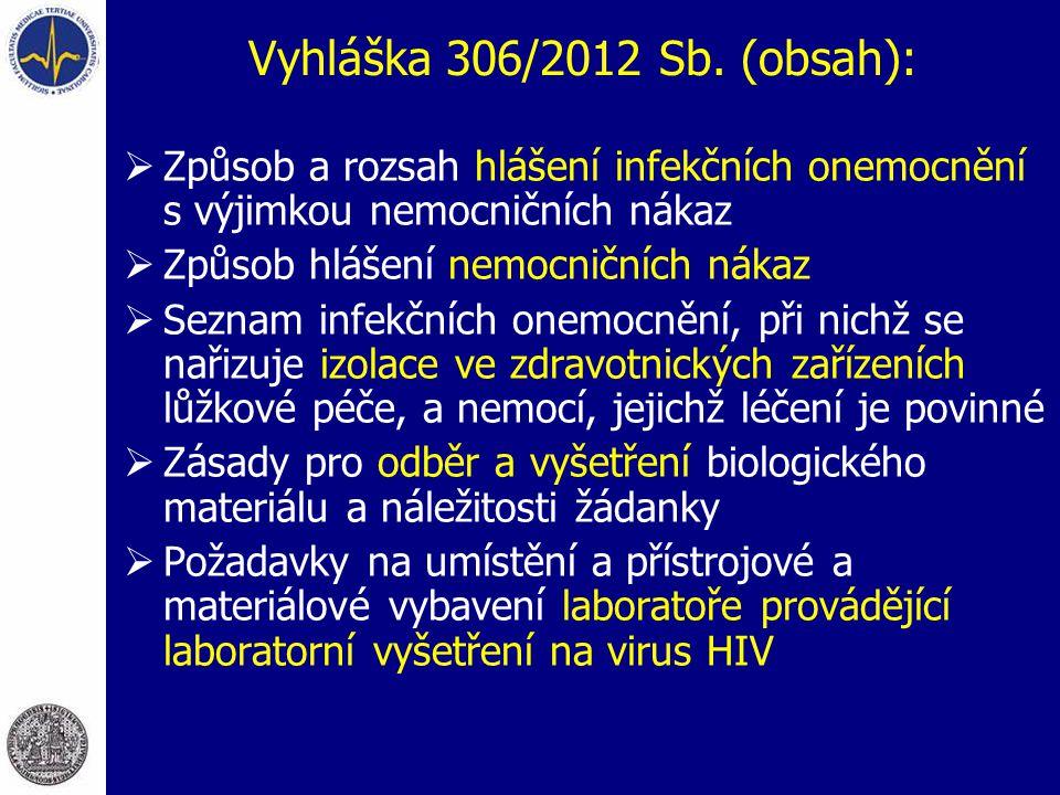 Vyhláška 306/2012 Sb. (obsah):  Způsob a rozsah hlášení infekčních onemocnění s výjimkou nemocničních nákaz  Způsob hlášení nemocničních nákaz  Sez