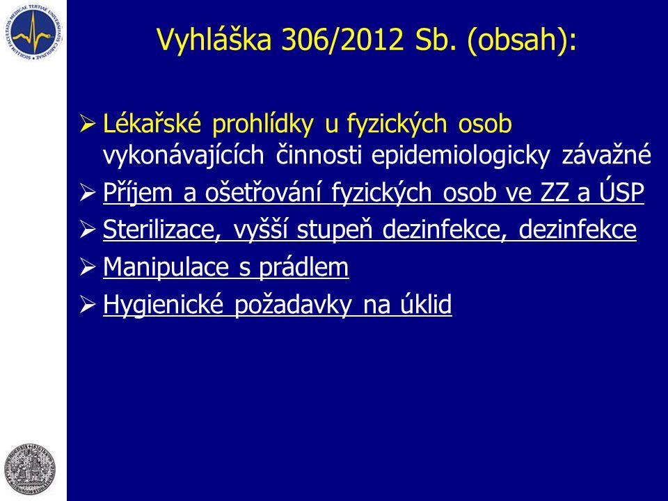 Vyhláška 306/2012 Sb. (obsah):  Lékařské prohlídky u fyzických osob vykonávajících činnosti epidemiologicky závažné  Příjem a ošetřování fyzických o
