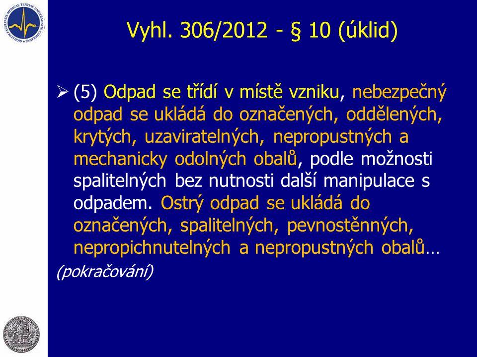 Vyhl. 306/2012 - § 10 (úklid)  (5) Odpad se třídí v místě vzniku, nebezpečný odpad se ukládá do označených, oddělených, krytých, uzaviratelných, nepr