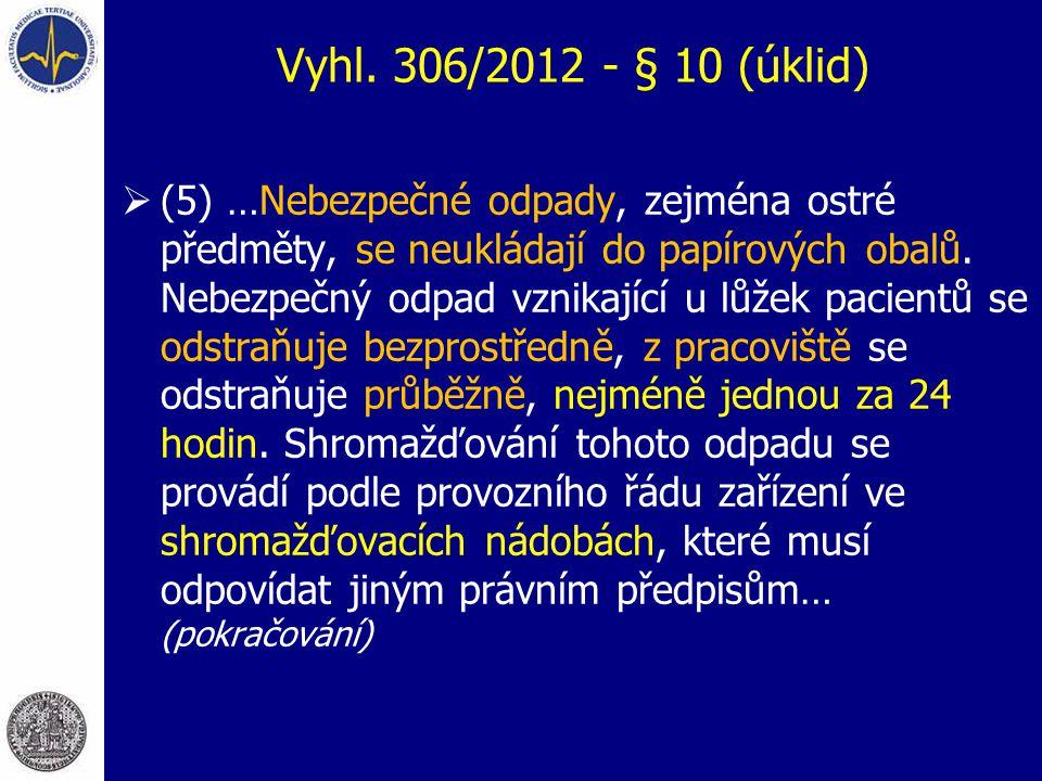 Vyhl. 306/2012 - § 10 (úklid)  (5) …Nebezpečné odpady, zejména ostré předměty, se neukládají do papírových obalů. Nebezpečný odpad vznikající u lůžek