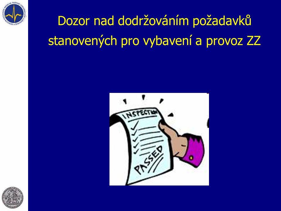 Dozor nad dodržováním požadavků stanovených pro vybavení a provoz ZZ