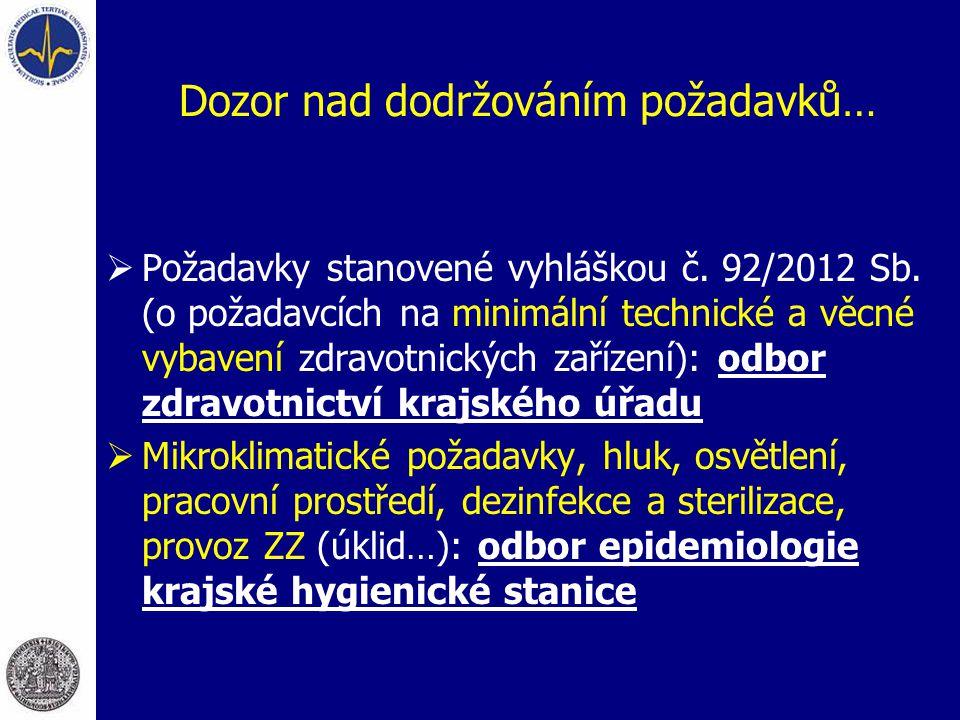 Dozor nad dodržováním požadavků…  Požadavky stanovené vyhláškou č. 92/2012 Sb. (o požadavcích na minimální technické a věcné vybavení zdravotnických