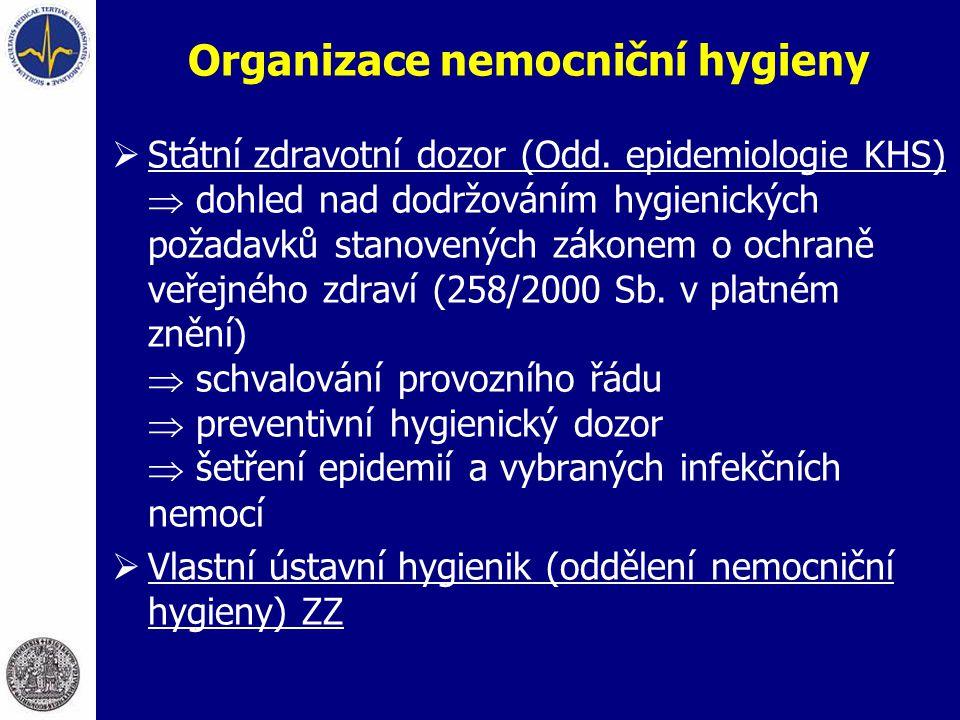 Organizace nemocniční hygieny  Státní zdravotní dozor (Odd. epidemiologie KHS)  dohled nad dodržováním hygienických požadavků stanovených zákonem o