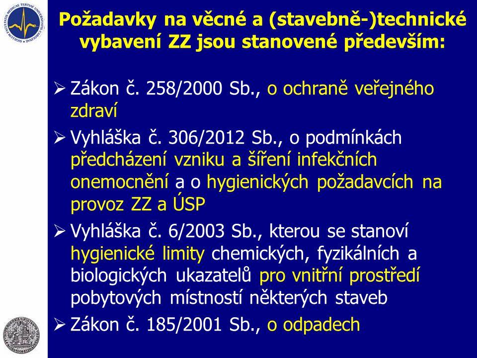 Požadavky na věcné a (stavebně-)technické vybavení ZZ jsou stanovené především:  Zákon č. 258/2000 Sb., o ochraně veřejného zdraví  Vyhláška č. 306/