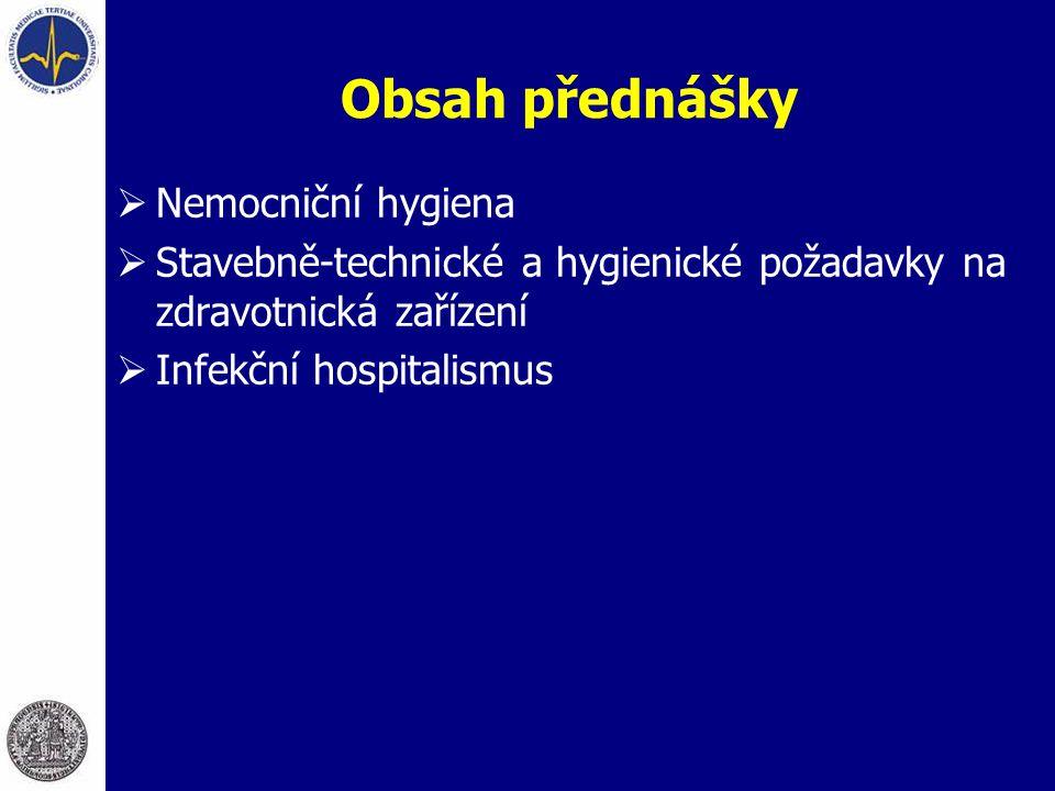 Obsah přednášky  Nemocniční hygiena  Stavebně-technické a hygienické požadavky na zdravotnická zařízení  Infekční hospitalismus
