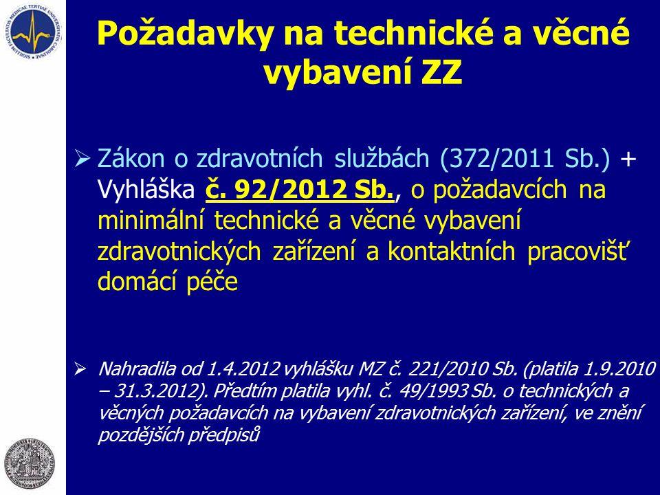 Požadavky na technické a věcné vybavení ZZ  Zákon o zdravotních službách (372/2011 Sb.) + Vyhláška č. 92/2012 Sb., o požadavcích na minimální technic