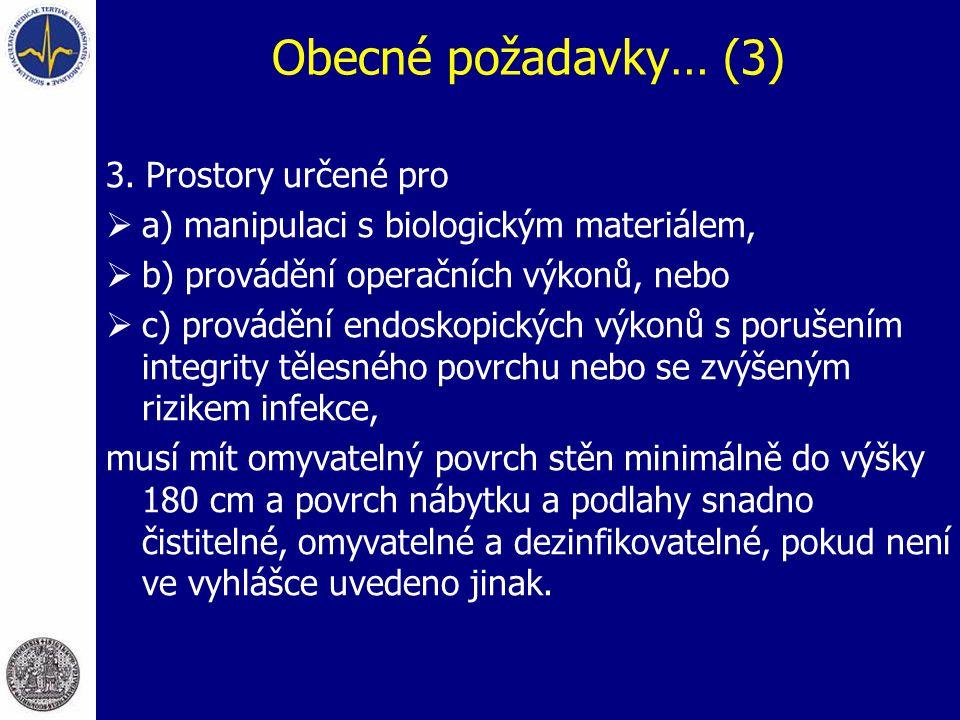 Obecné požadavky… (3) 3. Prostory určené pro  a) manipulaci s biologickým materiálem,  b) provádění operačních výkonů, nebo  c) provádění endoskopi