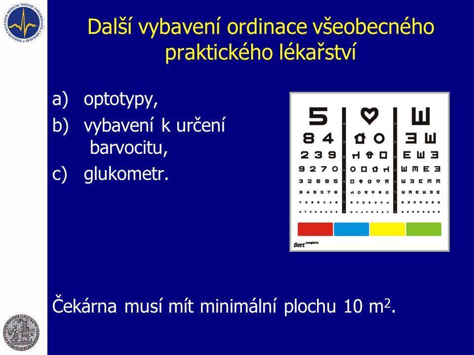 Další vybavení ordinace všeobecného praktického lékařství a)optotypy, b)vybavení k určení barvocitu, c)glukometr. Čekárna musí mít minimální plochu 10