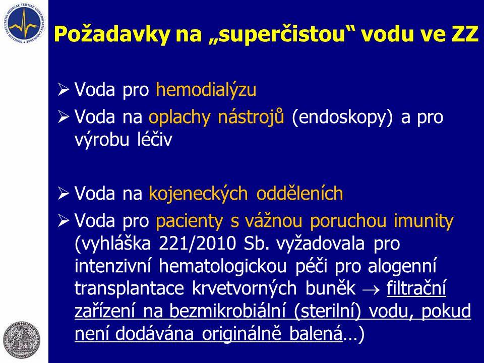 """Požadavky na """"superčistou"""" vodu ve ZZ  Voda pro hemodialýzu  Voda na oplachy nástrojů (endoskopy) a pro výrobu léčiv  Voda na kojeneckých odděleníc"""