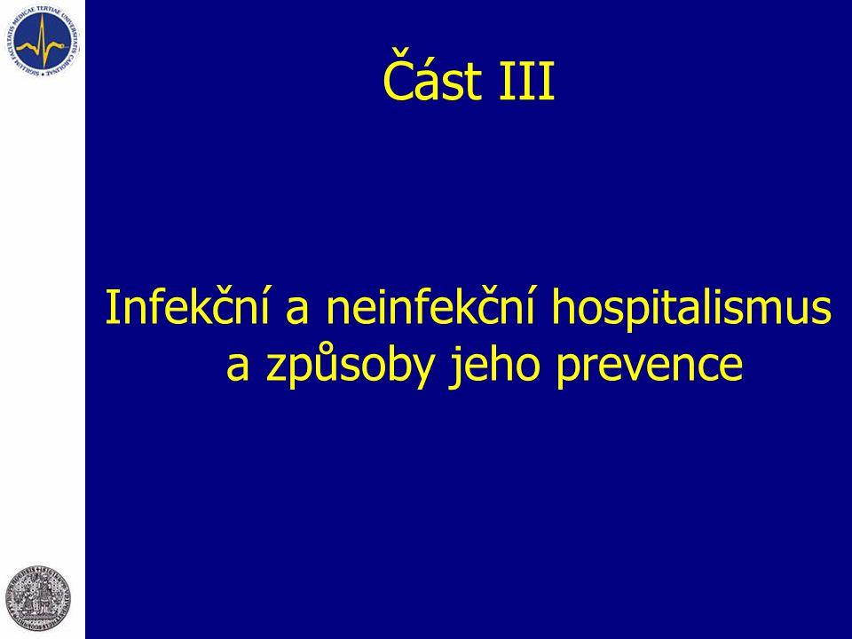 Část III Infekční a neinfekční hospitalismus a způsoby jeho prevence