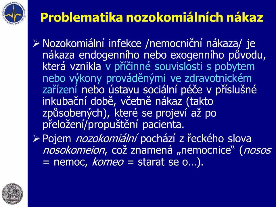 Problematika nozokomiálních nákaz  Nozokomiální infekce /nemocniční nákaza/ je nákaza endogenního nebo exogenního původu, která vznikla v příčinné so