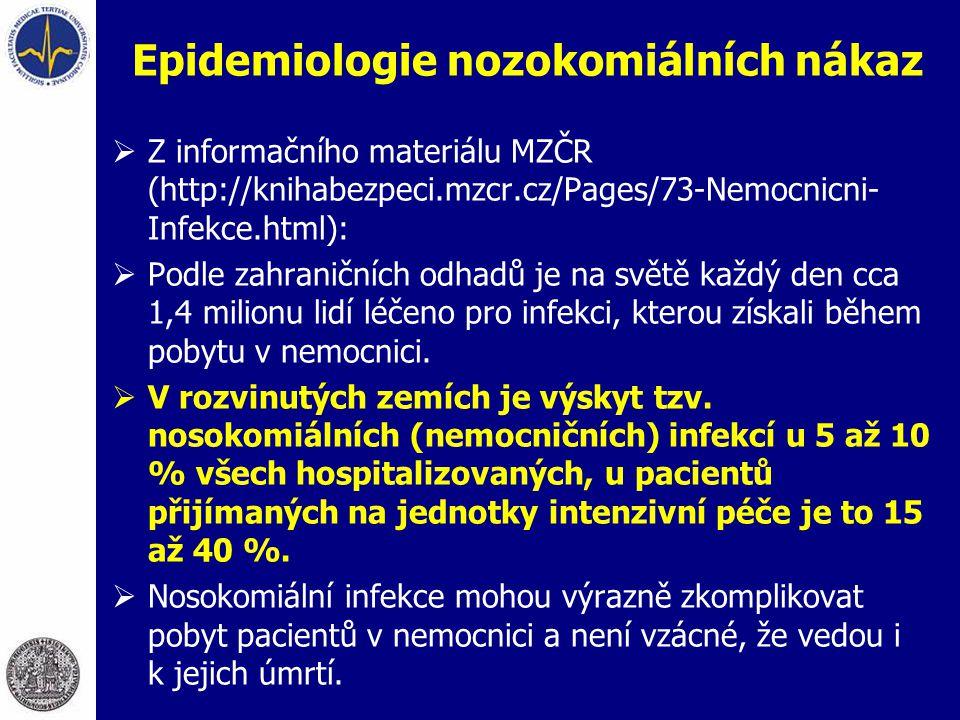 Epidemiologie nozokomiálních nákaz  Z informačního materiálu MZČR (http://knihabezpeci.mzcr.cz/Pages/73-Nemocnicni- Infekce.html):  Podle zahraniční
