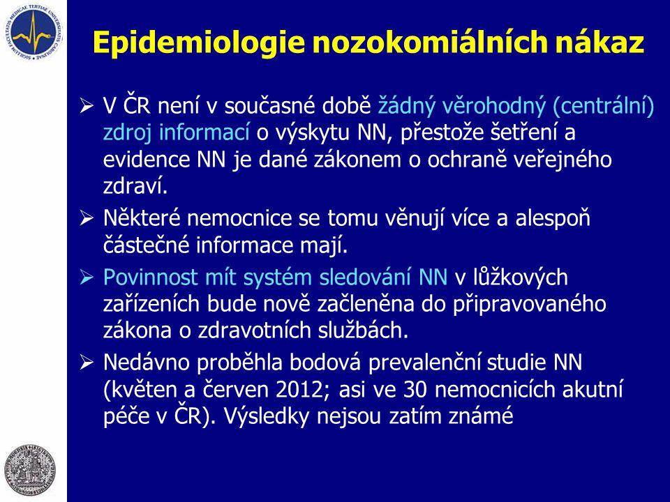 Epidemiologie nozokomiálních nákaz  V ČR není v současné době žádný věrohodný (centrální) zdroj informací o výskytu NN, přestože šetření a evidence N