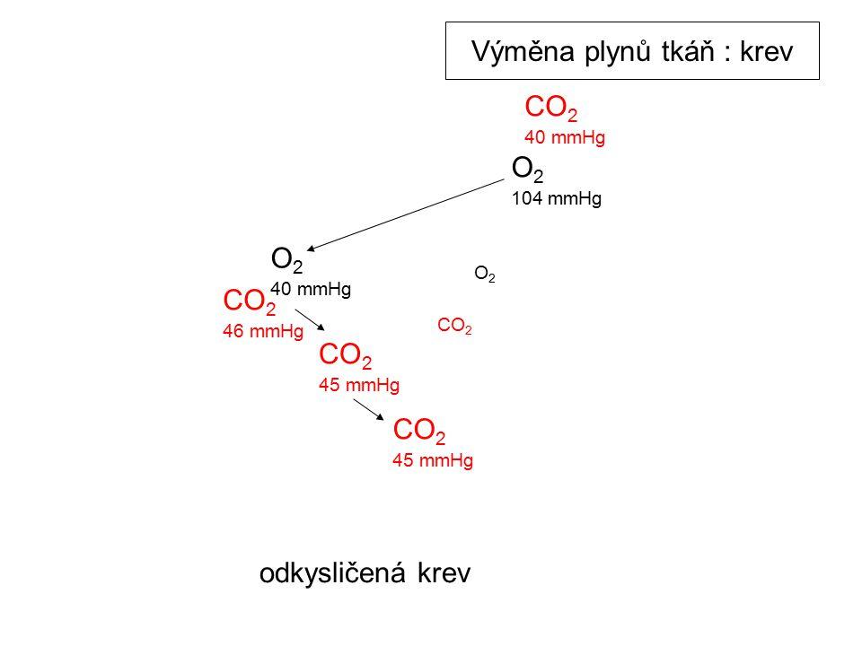 O 2 104 mmHg O 2 40 mmHg CO 2 45 mmHg CO 2 46 mmHg CO 2 40 mmHg O2O2 CO2CO2 CO 2 45 mmHg odkysličená krev Výměna plynů tkáň : krev