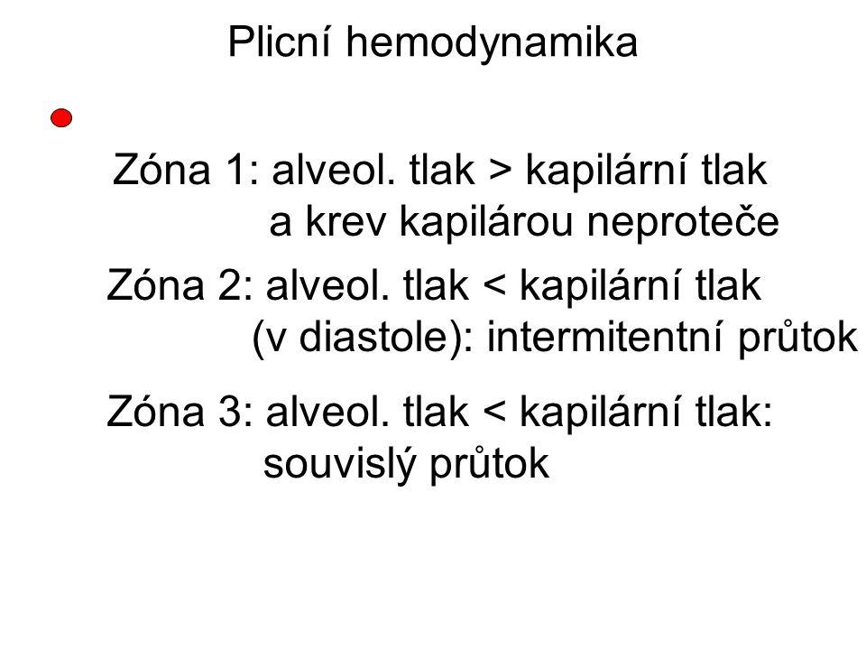 Zóna 1: alveol. tlak > kapilární tlak a krev kapilárou neproteče Zóna 2: alveol. tlak < kapilární tlak (v diastole): intermitentní průtok Zóna 3: alve