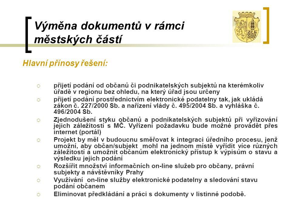 Výměna dokumentů v rámci městských částí Hlavní přínosy řešení:  přijetí podání od občanů či podnikatelských subjektů na kterémkoliv úřadě v regionu