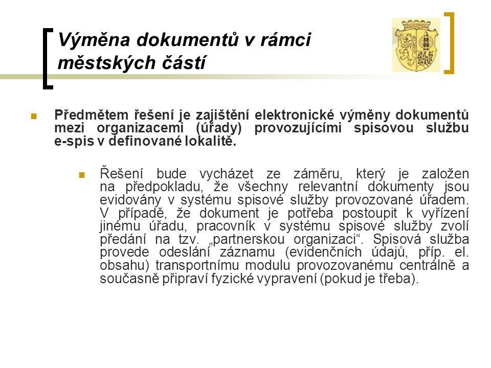 Výměna dokumentů v rámci městských částí Předmětem řešení je zajištění elektronické výměny dokumentů mezi organizacemi (úřady) provozujícími spisovou