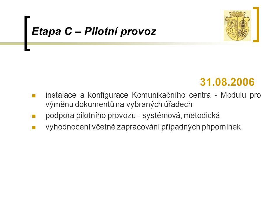 Etapa C – Pilotní provoz 31.08.2006 instalace a konfigurace Komunikačního centra - Modulu pro výměnu dokumentů na vybraných úřadech podpora pilotního