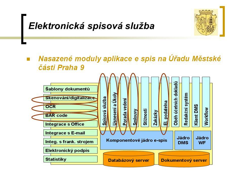 Elektronická spisová služba Nasazené moduly aplikace e spis na Úřadu Městské části Praha 9