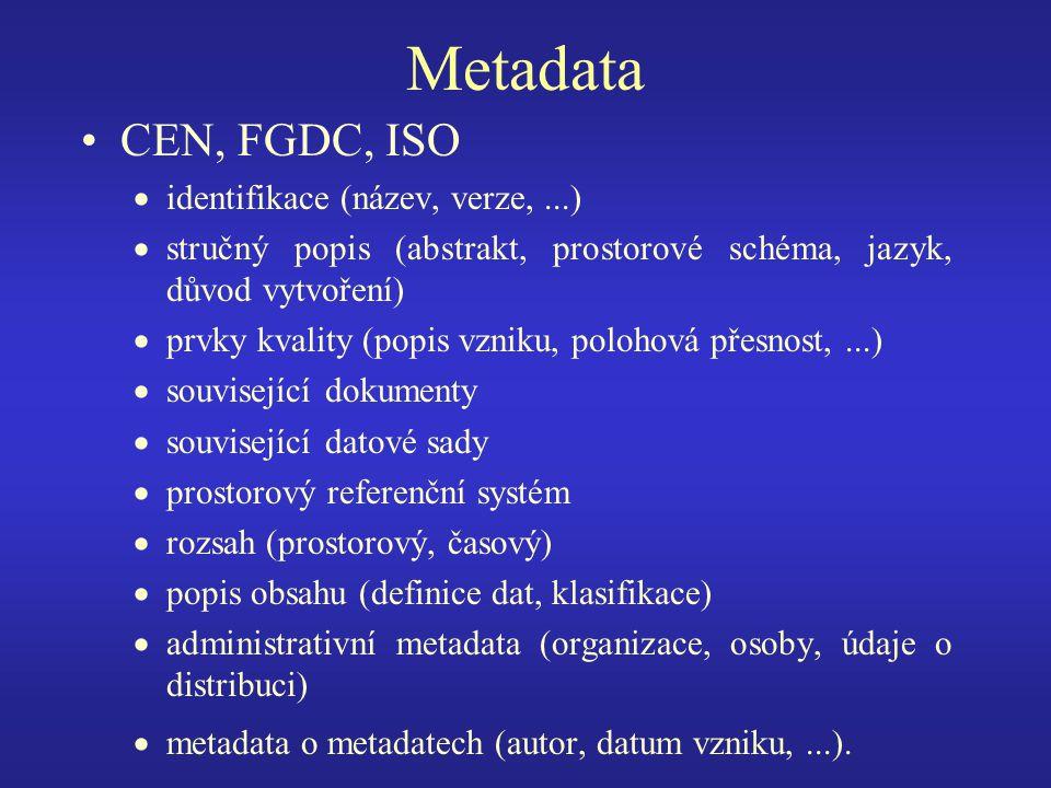 Metadata CEN, FGDC, ISO  identifikace (název, verze,...)  stručný popis (abstrakt, prostorové schéma, jazyk, důvod vytvoření)  prvky kvality (popis vzniku, polohová přesnost,...)  související dokumenty  související datové sady  prostorový referenční systém  rozsah (prostorový, časový)  popis obsahu (definice dat, klasifikace)  administrativní metadata (organizace, osoby, údaje o distribuci)  metadata o metadatech (autor, datum vzniku,...).