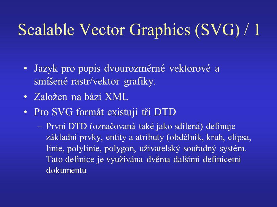 Scalable Vector Graphics (SVG) / 1 Jazyk pro popis dvourozměrné vektorové a smíšené rastr/vektor grafiky. Založen na bázi XML Pro SVG formát existují